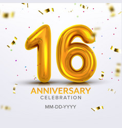 sixteen anniversary celebration number vector image