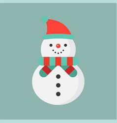 Snowman and santa hat flat icon christmas theme vector