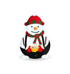 snowman with hot chocolate vector image
