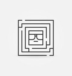 Square labyrinth with face inside vector