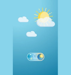 sunny day cityscape on off toggle switch button vector image