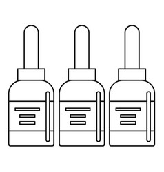 Three tattoo ink bottles icon outline vector