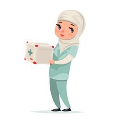 Transplant surgeon nurse female girl cute arab vector