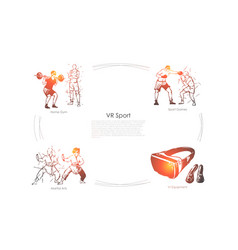 Vr sports - home gym sport games martial arts vector