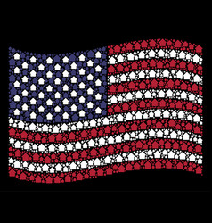 waving american flag stylization of cabin icons vector image