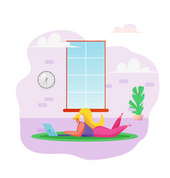 woman freelancer at floor remote work vector image