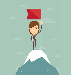 Woman with flag on a mountain peak vector