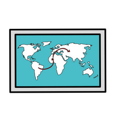World map paper isolated icon vector