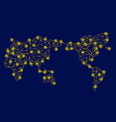 Yellow mesh wire frame world map with flare spots vector