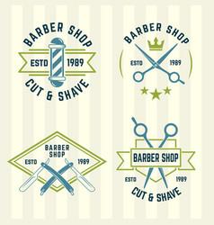 barbershop set of colored labels vector image