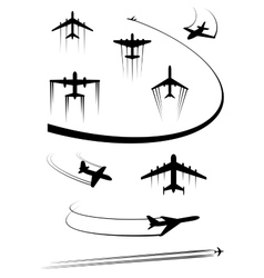 Black icons of airplanes and cargo planes vector image vector image