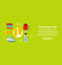 cleaning home tools banner horizontal concept vector image