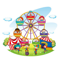 happy kids riding on ferris wheel vector image