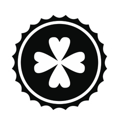 Rosette with four leaf clover icon vector image