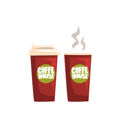 two brown take away paper coffee cups hot coffee vector image