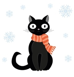 Cat and snow vector image vector image