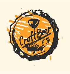 Craft beer cap pub sketch vector
