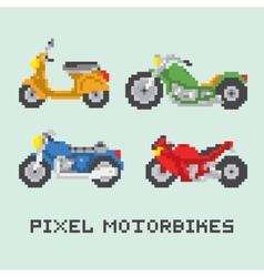 Pixel art style motorbike isolated set vector