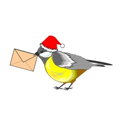 A christmas titmouse with a letter in its beak vector