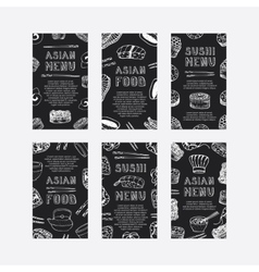 Hand drawn asian food cards vector image