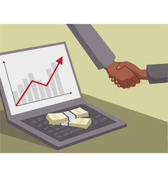 International handshake and money on laptop vector image vector image