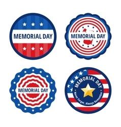 Memorial day color labels set vector image