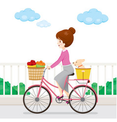 young woman riding bicycle with fruits and dog vector image vector image