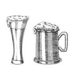 beer glass mug or bottle of oktoberfest engraved vector image