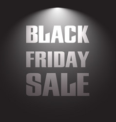 Black friday sale discount text with light lamp vector
