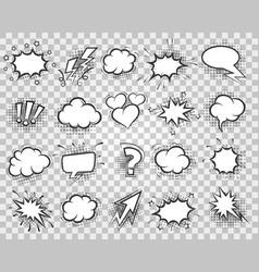 cartoon sketch speech bubbles set vector image