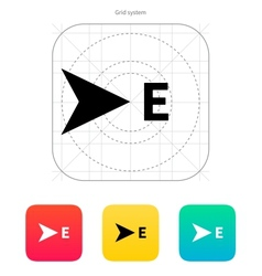 East direction compass icon vector image vector image