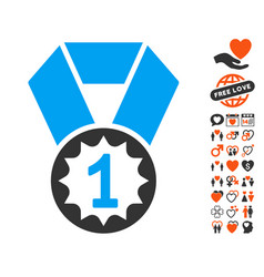 first place medal icon with lovely bonus vector image vector image