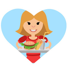 girl with a tray of food in his hands vector image