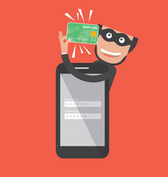 hacker breaks into smartphone data theft vector image vector image