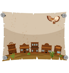 Paper template with western town vector