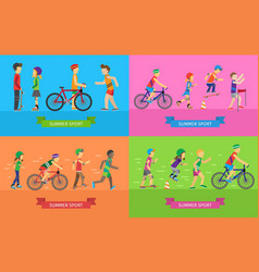 summer sport concepts in flat design vector image vector image