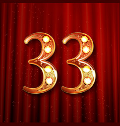 33 years anniversary with gold stylized number vector image