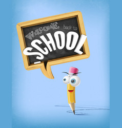 3d cartoon welcome back to school funny vector image