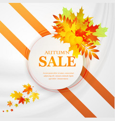 Advertising discount banner with fallen leaves vector