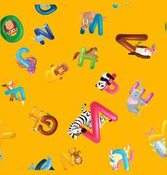 Animals alphabet background set of cartoon vector