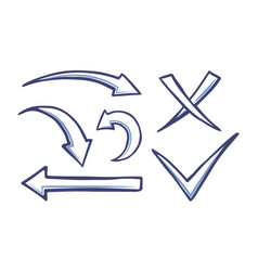 Arrows and pointers checkmark and cross vector
