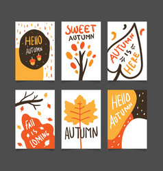 autumn poster template collection vector image