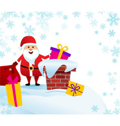 banner merry christmas santa claus on roof vector image