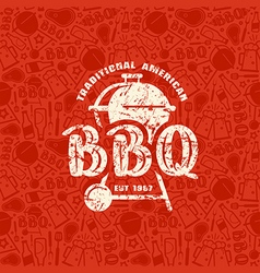 Barbecue seamless pattern and emblem vector image