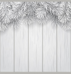 border artificial christmas tree branch white vector image