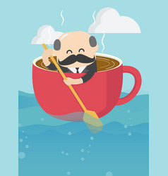 boss businessman who is in a cup coffee and is vector image