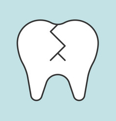 broken tooth dental related icon filled outline vector image