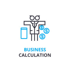 business calculation concept outline icon vector image
