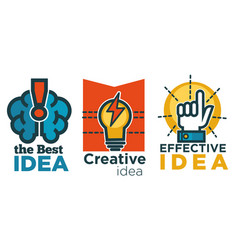 business idea isolated icons brain and lightbulb vector image