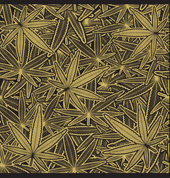 cannabis golden leaves pattern vector image